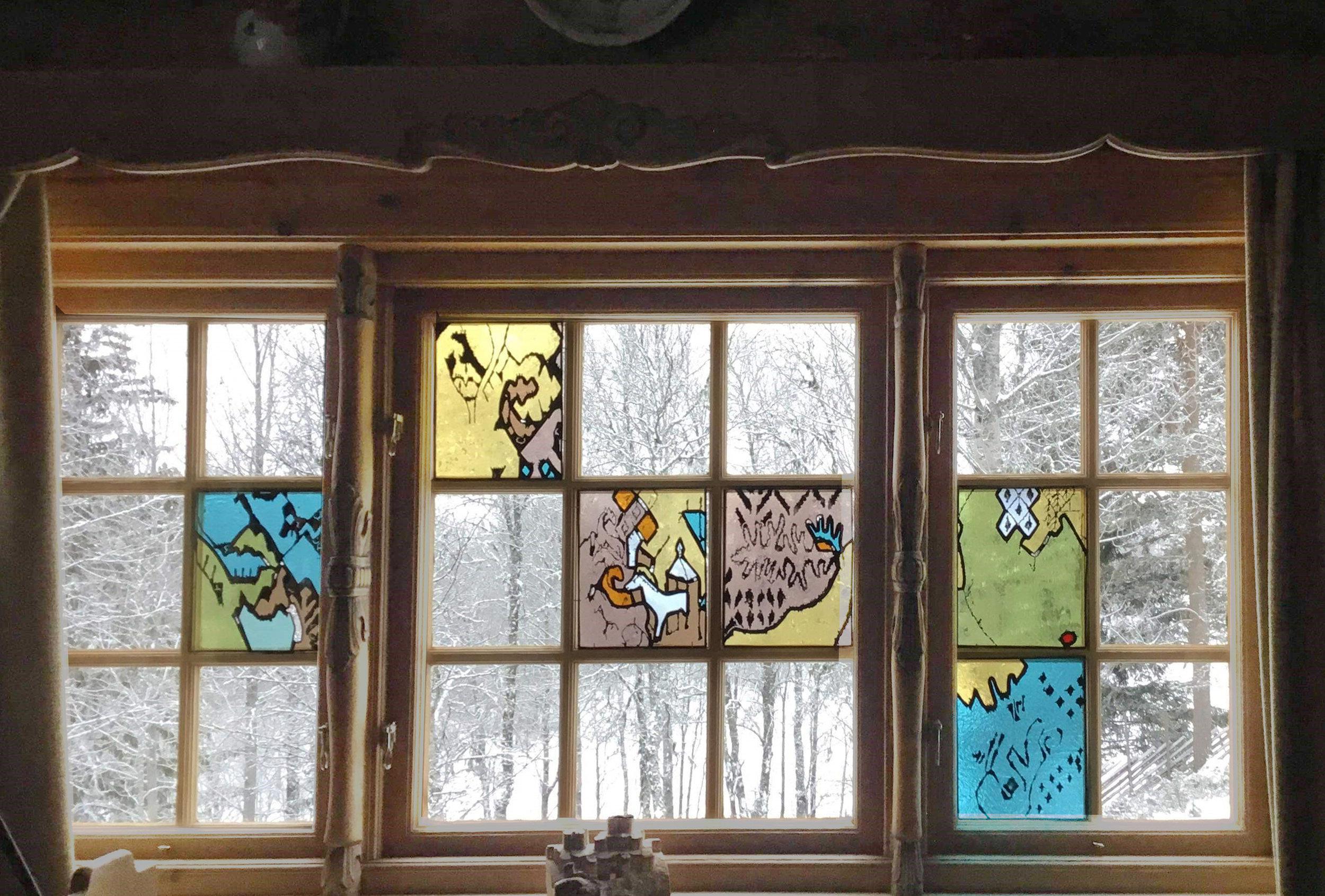 Unn sine hester - Med utgangspunkt i Unn sine billedvever lagde jeg seks små paneler som kan flyttes rundt i vinduene til Unn og Pål. De kan jo settes sammen på mange forskjellig måter.