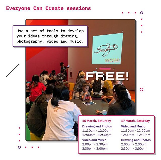 Everyone Can Create FREE 30 min sessions  Use a set of tools to develop your ideas through drawing, photography, video and music.  16 and 17 March Four sessions each at: 11.30am 12.00pm 2.00pm 2.30pm  ArtScience Museum B2, Rainbow Room  The showcase, ArtScience in Focus: MeshMinds 2.0 #ArtxTechforGood runs till Sunday, 17 March, 10am - 7pm on Level 4 of ArtScience Museum.  #ArtScienceMuseum #ArtScienceInFocus #ASIFMeshMinds #EveryoneCanCreate #iPad #ArtxTechforGood #MeshMinds
