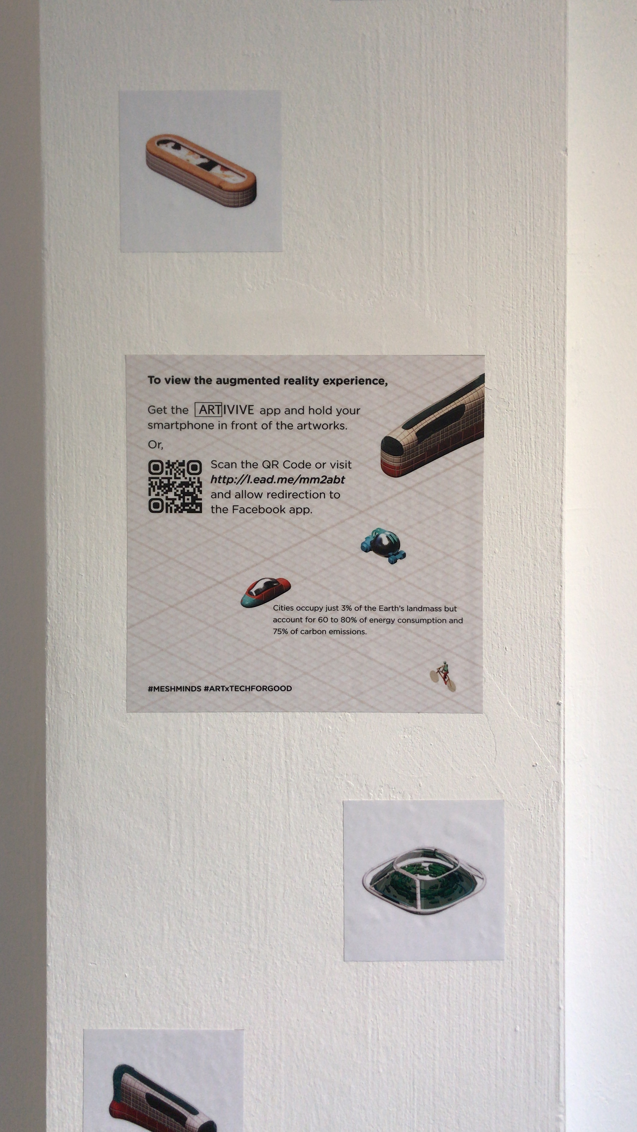 Exhibition text offering visitors an option between Facebook and Artivive to experience the AR art.