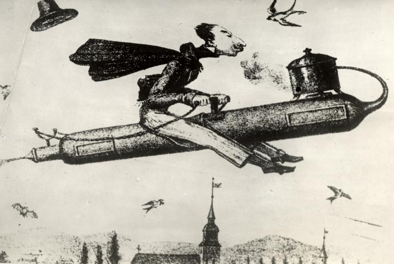 Spotprent van een man die per raket een reis naar de maan maakt, omstreeks 1830.  Cartoon of a man travelling to the moon on a rocket, around 1830.
