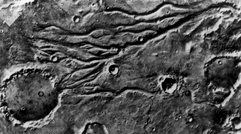 Mars, lege rivierbedding. Mars, empty river bed.
