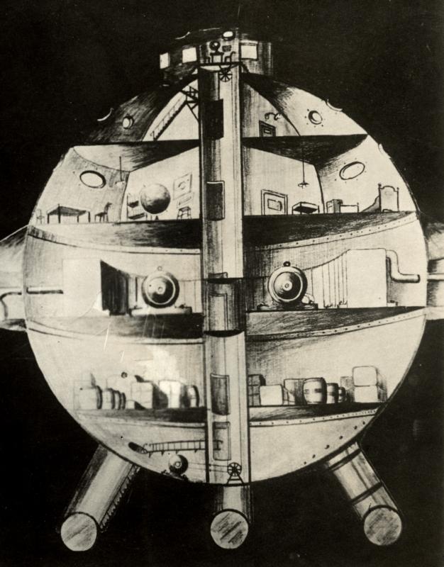 Ontwerp van een kogel-raket-luchtschip van een Berlijnse ingenieur voor een tocht naar de maan, 1930.  Design of a spaceship by an engineer from Berlin, 1930.