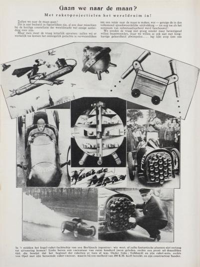 'Gaan we naar de maan?', artikel uit Weekblad Het Leven uit 1930.  'Are we going to the moon?', Article from magazine Het Leven, 1930.