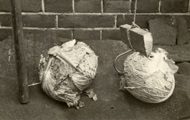 'Uitvinding' om kolen te stelen: een haak aan een touw en verzwaard met een stukje hout. Rotterdam, 1917. Invention to steal cabbages with: a hook on a rope made heavier with a piece of wood. Rotterdam, The Netherlands, 1917.