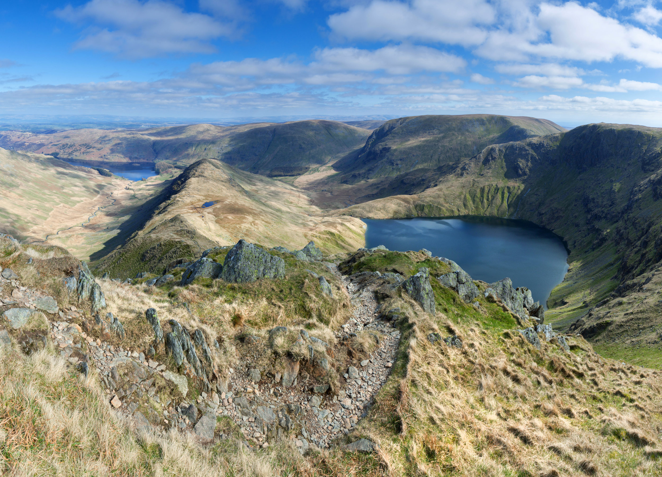 Looking down the Long Stile ridge, with Blea Water in the foreground and Haweswater beyond.