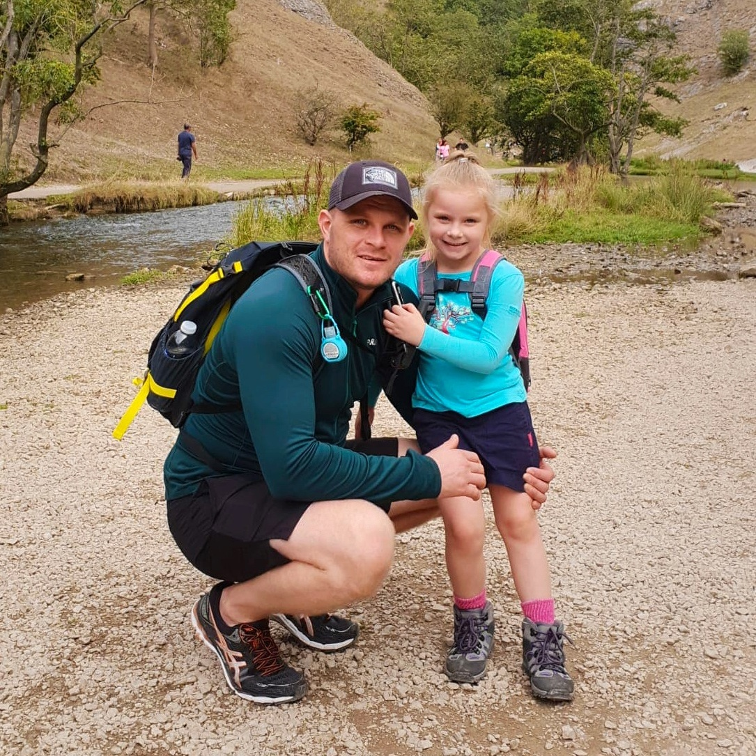 Mark and his daughter Hollie walking together in the Peak District's Dovedale valley.