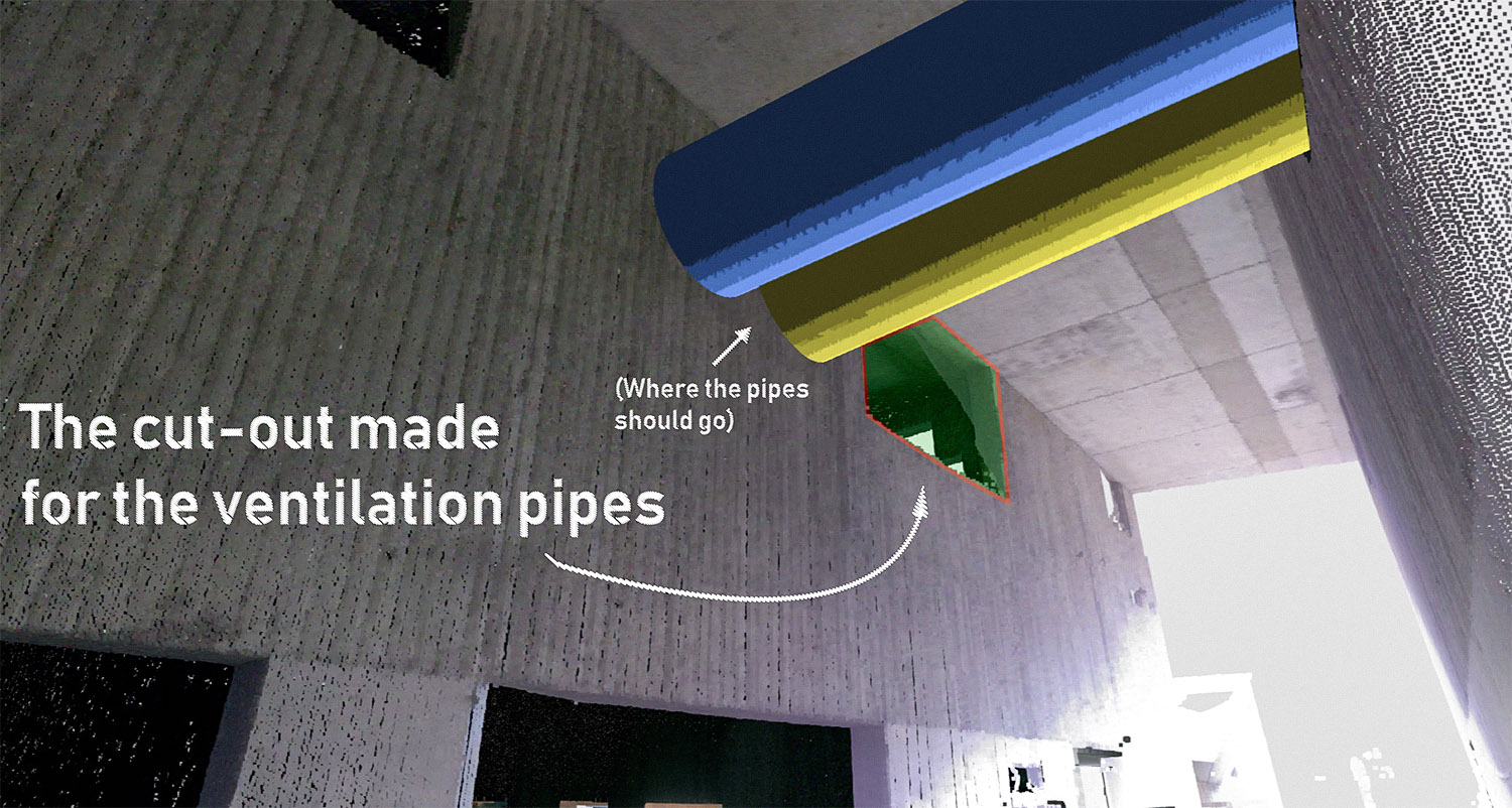 A typical example of a work deviation detected by Imerso. A cut-out in the concrete structure has been built in the wrong place. The ventilation model (blue & yellow pipes) show that the existing opening is far out of tolerance and will cause a future clash if ignored.