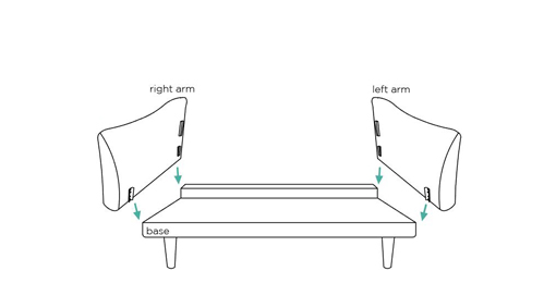 2. - Align the metal bits on my arms with the ones on my bum and push them down. Apply pressure until they are completely fixed.