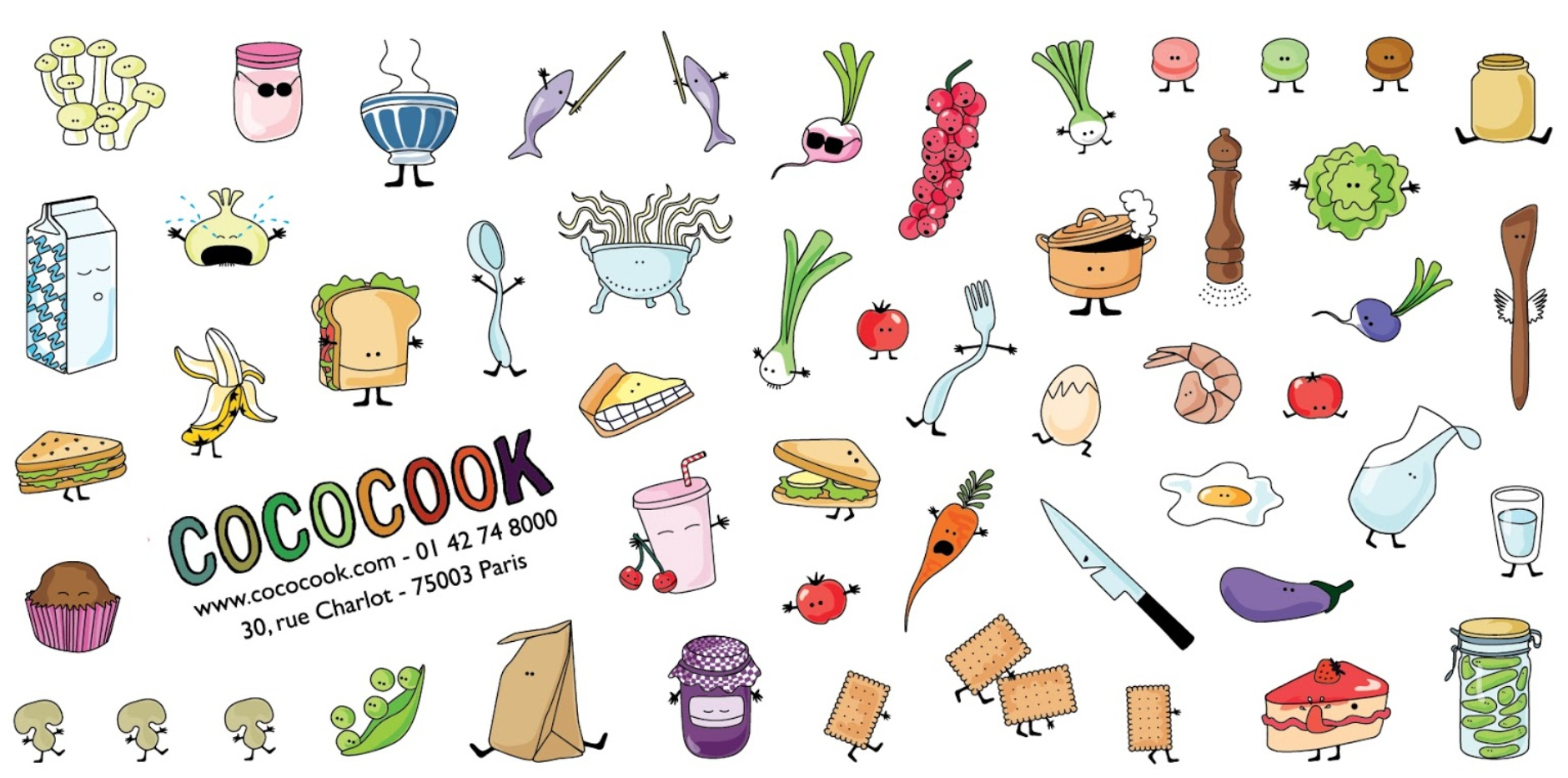 Comprehensive menu design for Parisian healthy, fast food chain Cococook. Concept, development and completion across the whole spectrum: drinks, snacks, main plates and desserts.