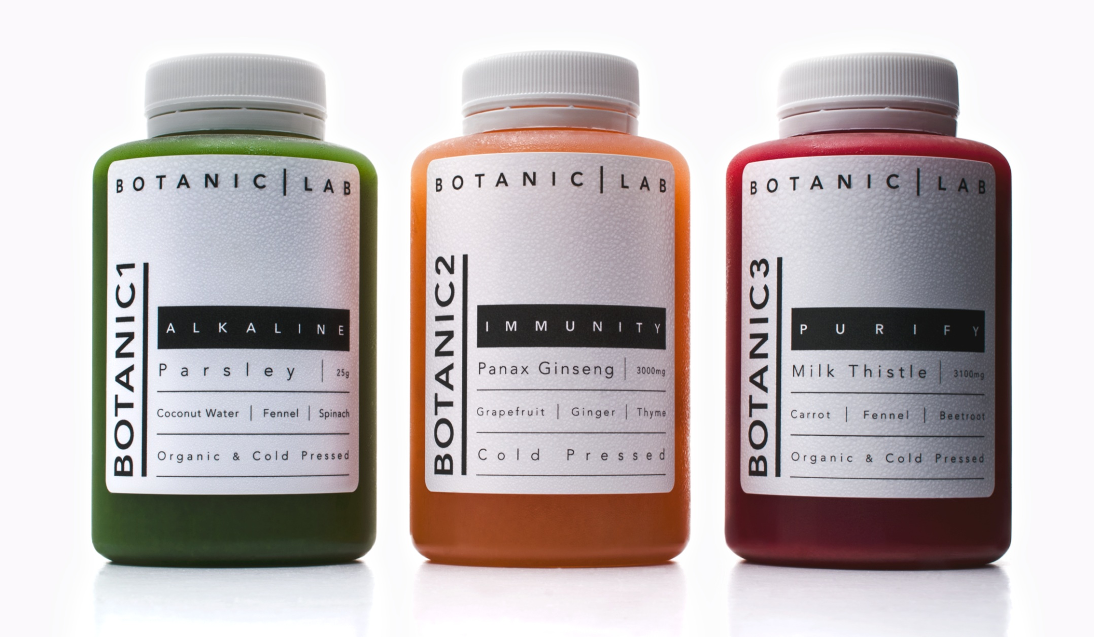 Creating a modern medicinal look for cold pressed plant potions with noticeable amounts of potent botanicals