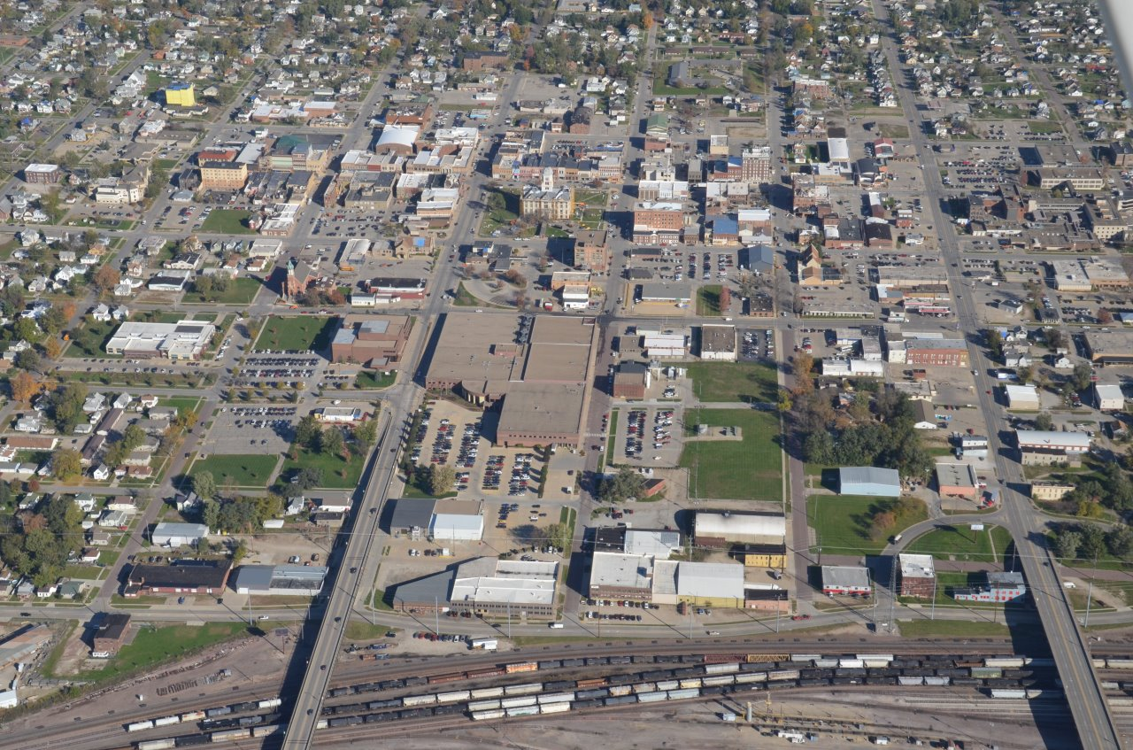 Aerial view looking north toward Downtown Marshalltown, IA.