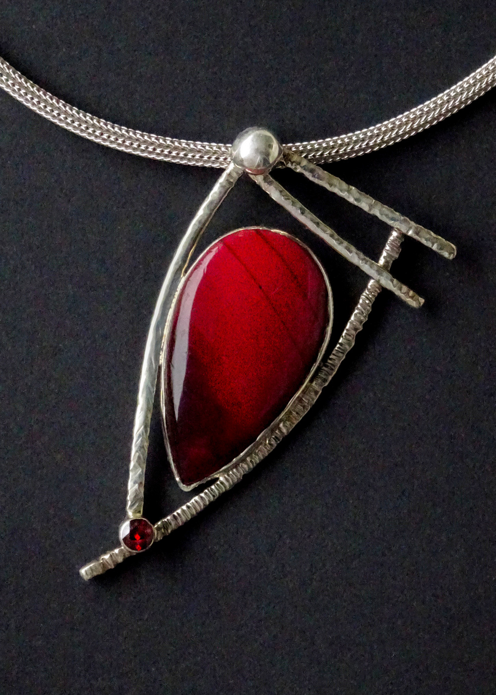 RED STONE GEOMETRIC PENDANT,  2.75 x 1.5 inches,  16 inch adjustable chain
