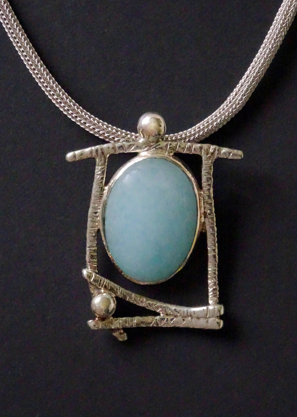 BLUE MOON STONE GEOMETRIC PENDANT,  2.0 x 1.5 inches,  16 inch adjustable chain