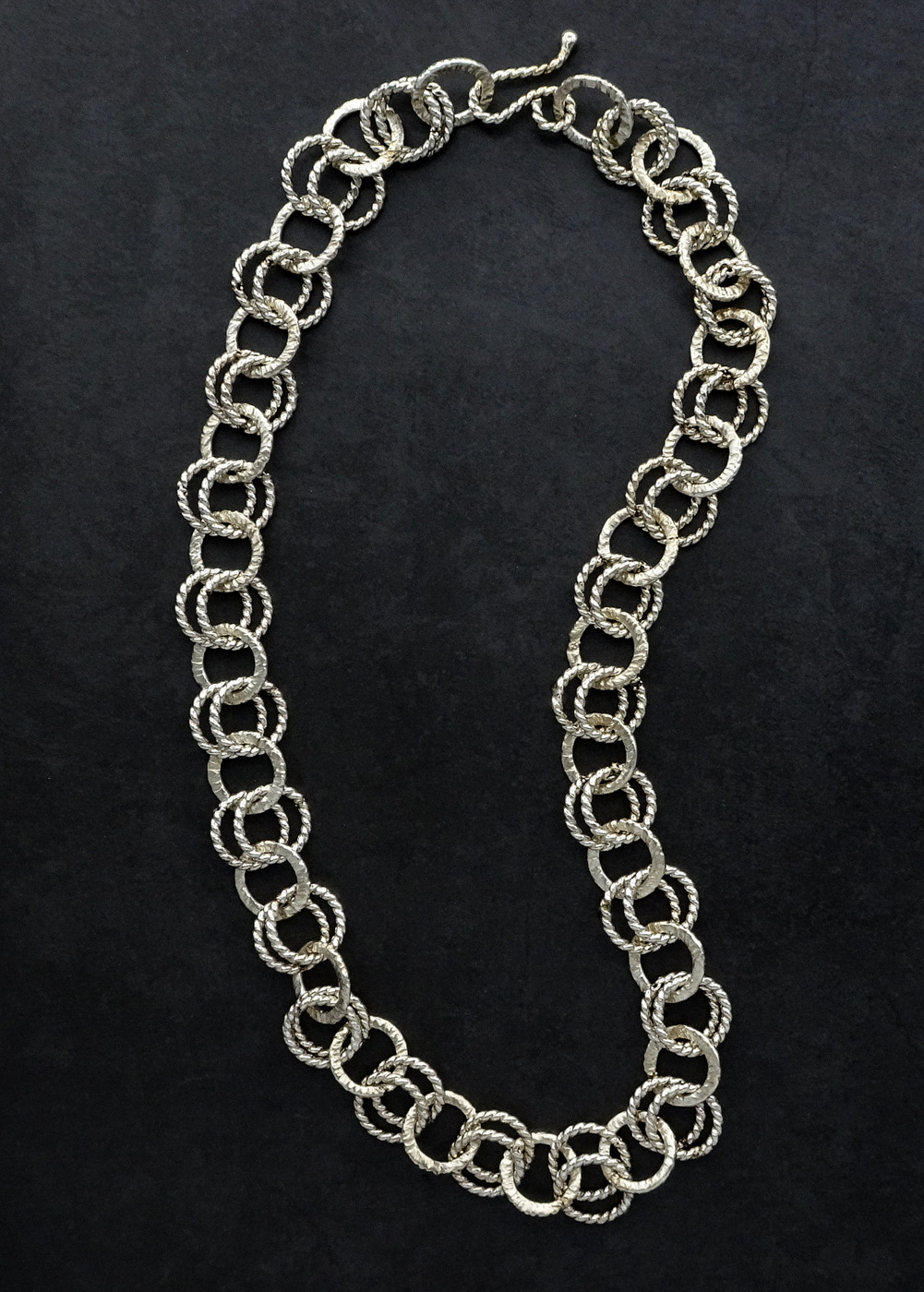 DOUBLE LINKS SILVER CHAIN,  .5 inch links,  20 inch length