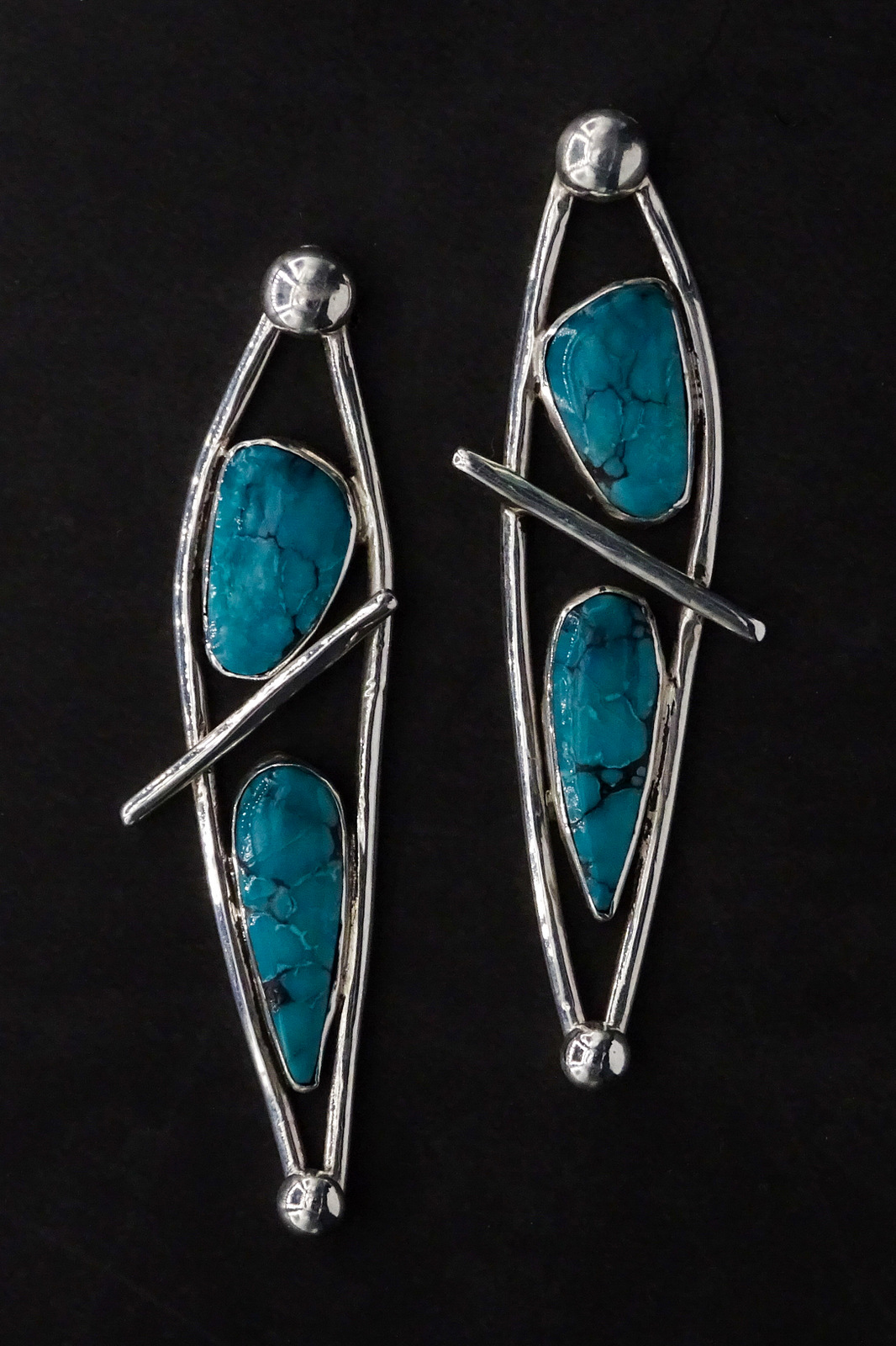 LONG ABSTRACT TURQUOISE EARRINGS,  Silver Post Back,  3 x .75 inches