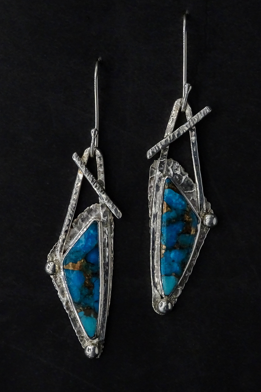 GEOMETRIC TURQUOISE EARRINGS,  Silver Ear Wires,  2 x .5 inches - 2.75 inches drop length