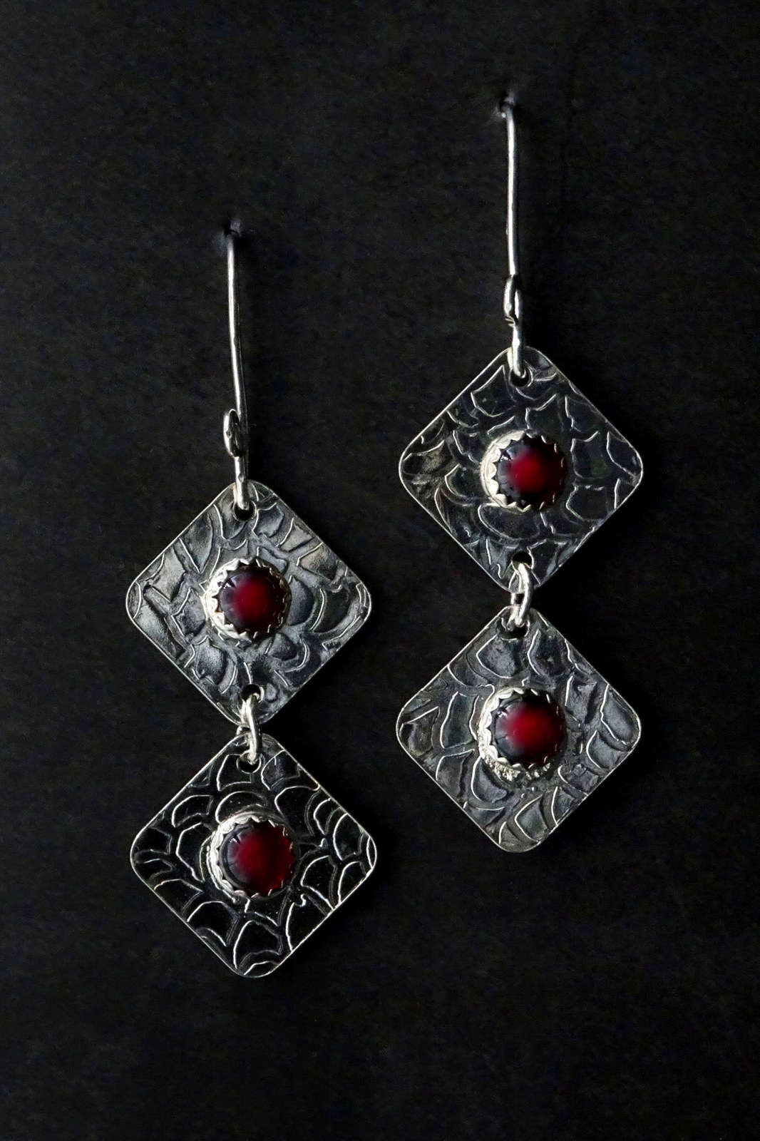 DOUBLE TIER SQUARE DISCS WITH RED STONE EARRINGS,  Silver Ear Wires,  1.5 x .75 inches - 2.25 inches drop length
