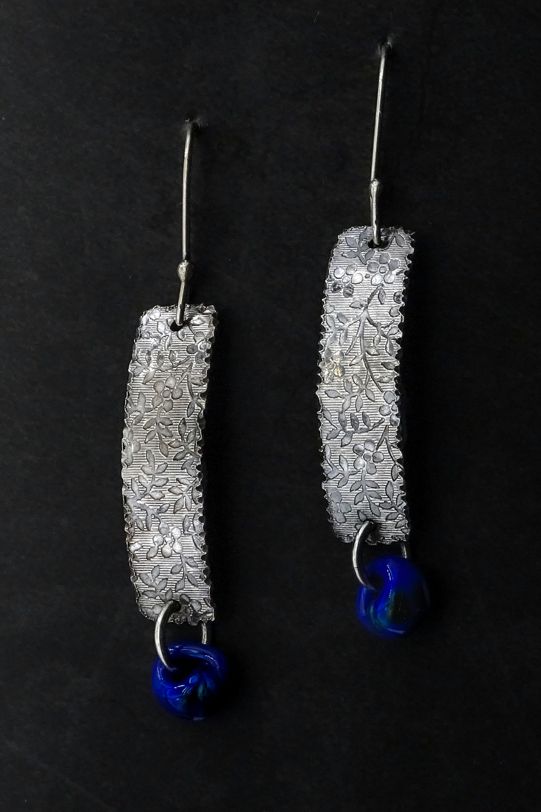 BLUE STONE ARC EARRINGS,  Silver Ear Wires,  1.75 x .5 inches - 2.5 inches drop length