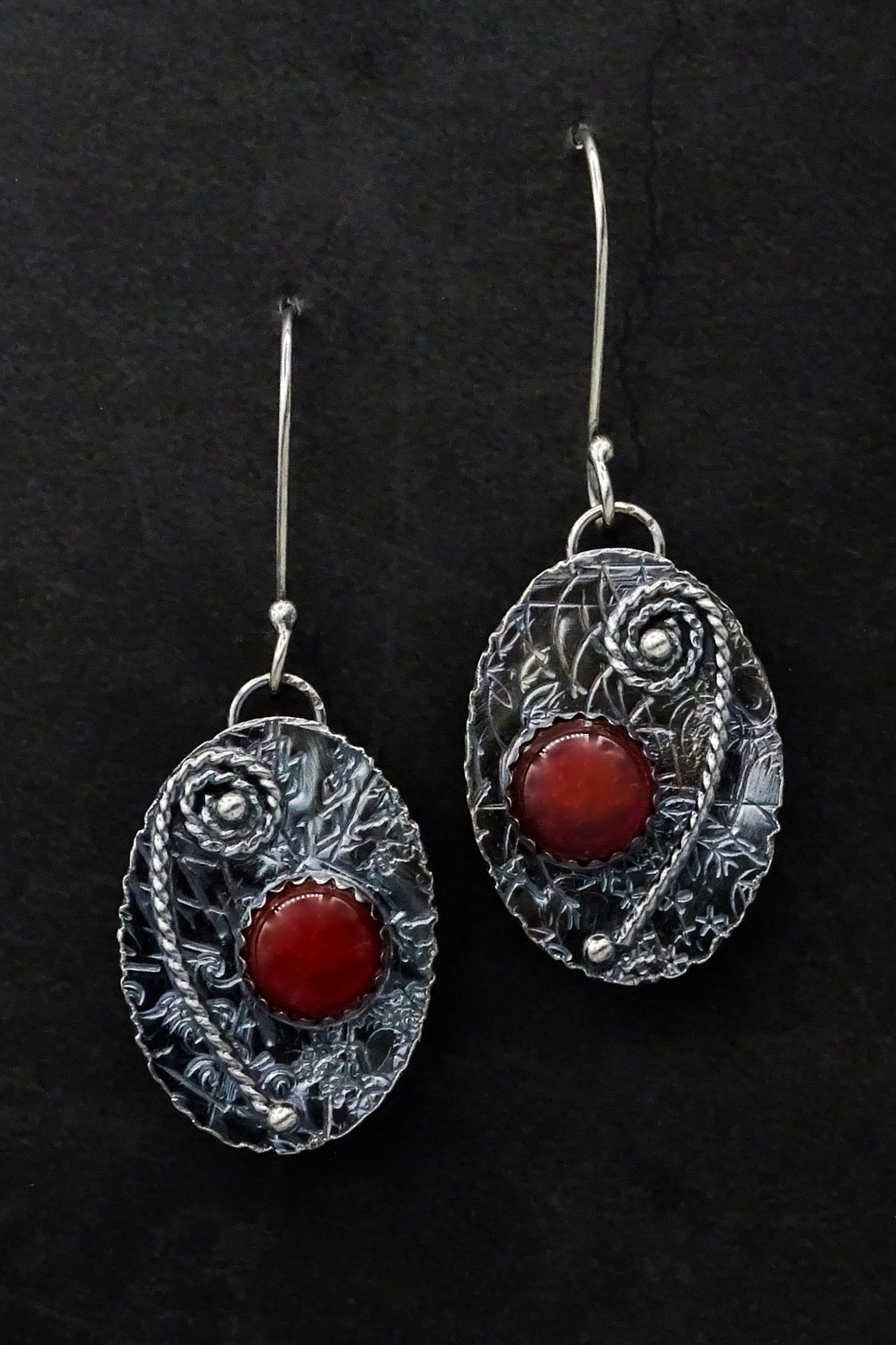 OVAL DISCS WITH RED STONE EARRINGS,  Silver Ear Wires,  1.25 x .75 inches - 2.25 inches drop length