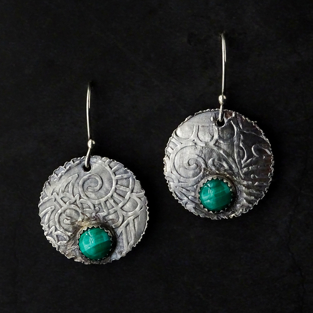 EMBOSSED DISCS WITH GREEN STONE EARRINGS,  Silver Ear Wires,  1 x 1 inches - 1.66 inches drop length