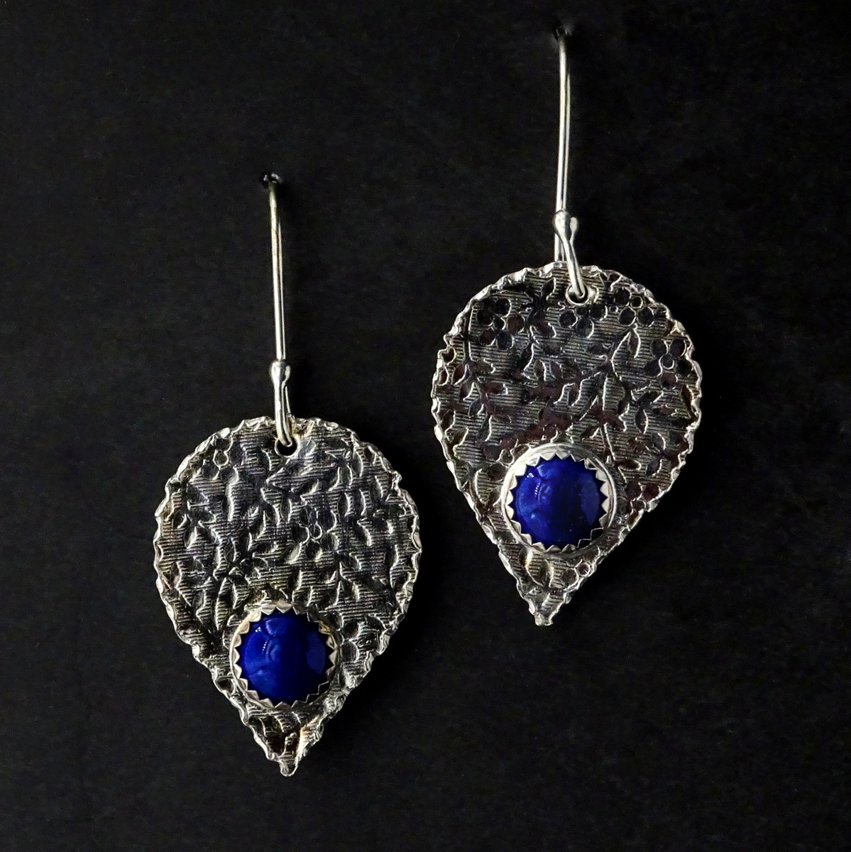 INVERTED TEARDROPS WITH BLUE STONE EARRINGS,  Silver Ear Wires,  1.25 x .75 inches - 2 inches drop length