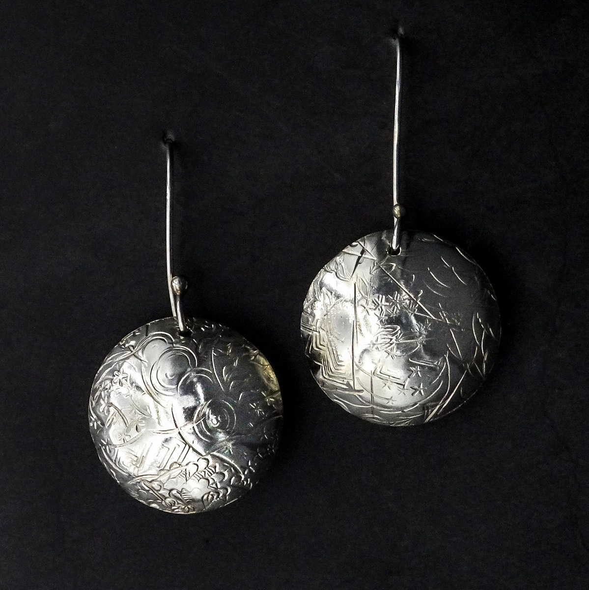 SILVER ORB EARRINGS,  Silver Ear Wires,  1 x 1 inches - 2 inches drop length