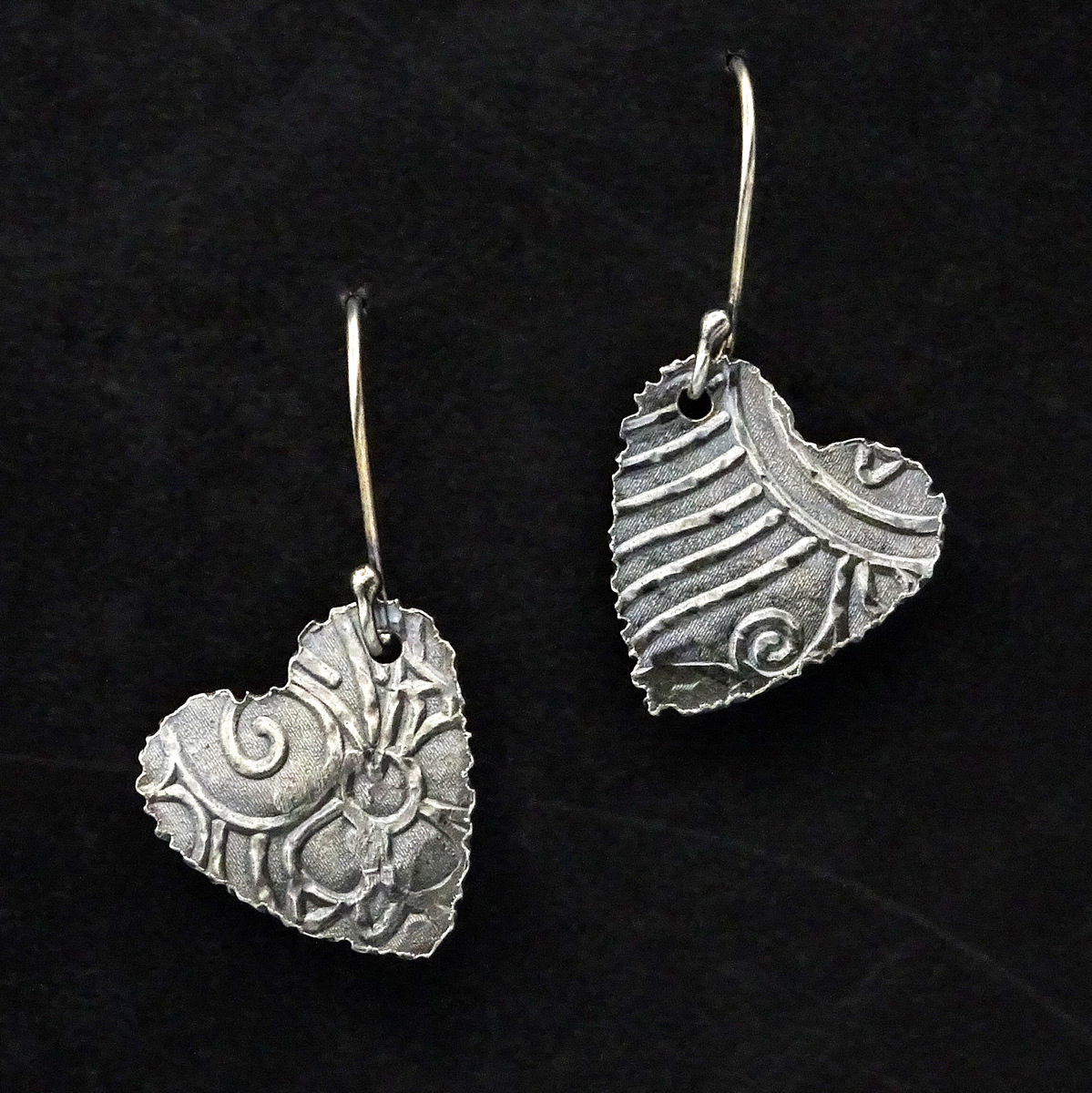 EMBOSSED HEARTS EARRINGS,  Silver Ear Wires,  .75 x .8 inches - 1.5 inches drop length