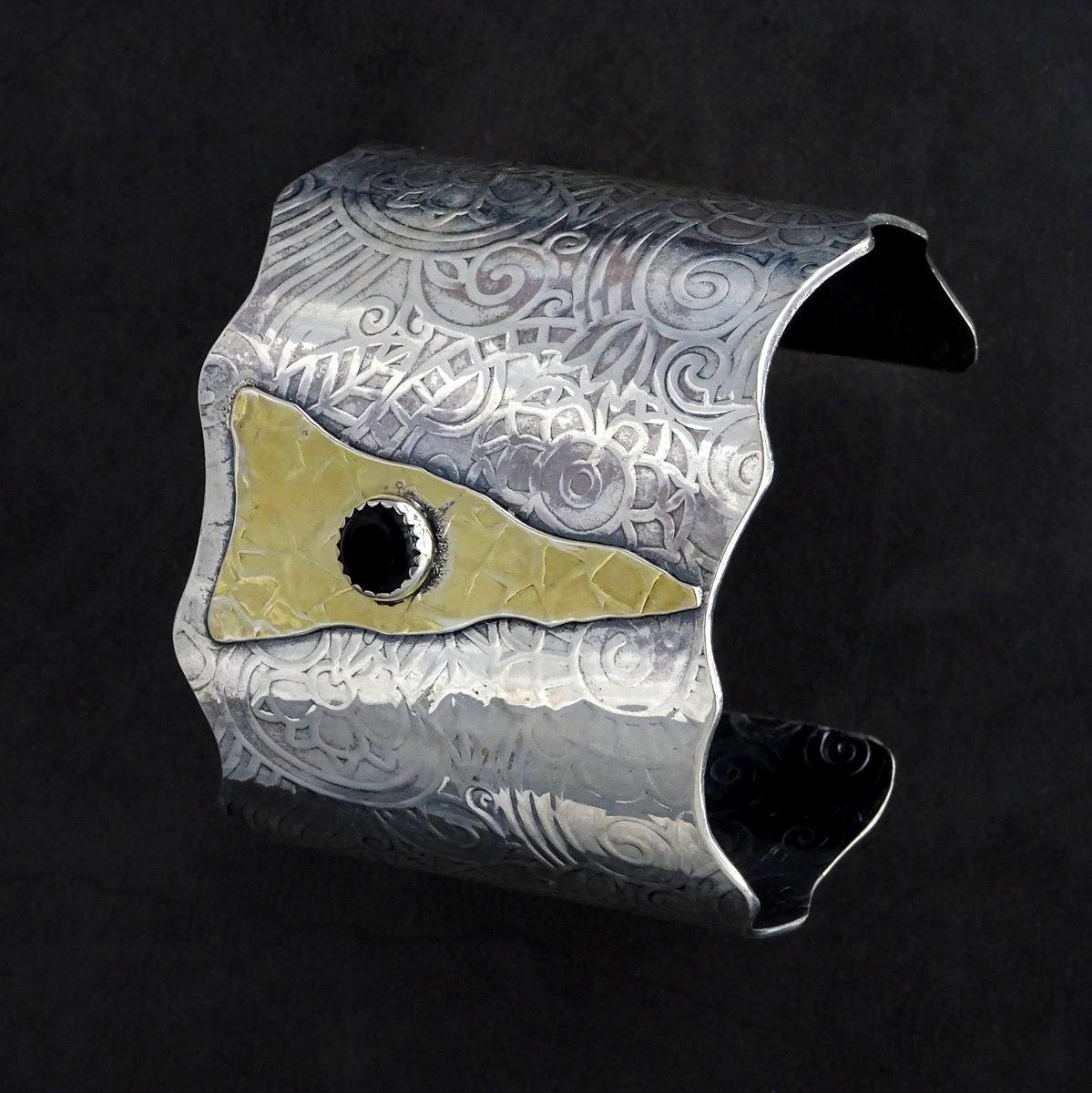 GOLDEN ARROW CUFF BRACELET,  2.25 inches high x 2.5 inches in diameter