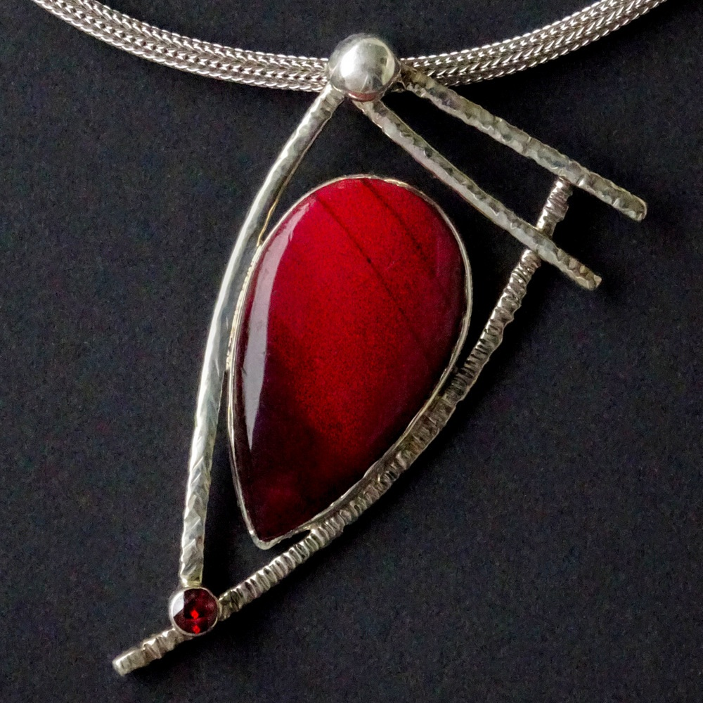 08- Handcrafted Silver Necklace with Deep Red Stone and Garnet Accent, Sylvia McCollum-005.JPG