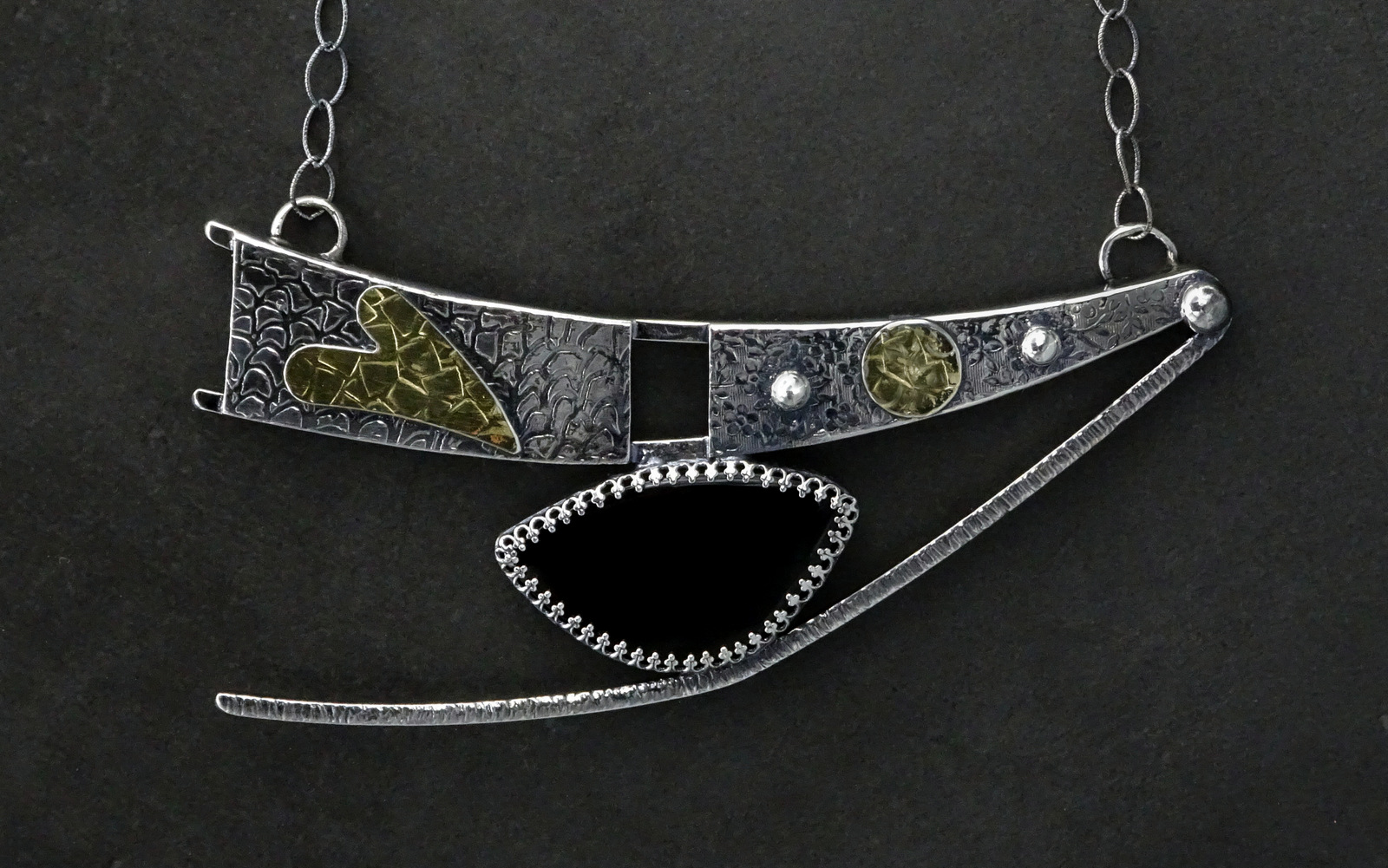 LARGE DANCING SPIRIT NECKLACE WITH BLACK STONE,  Pendant - 5 x 2.65 inches, Chain Length - 24 inches