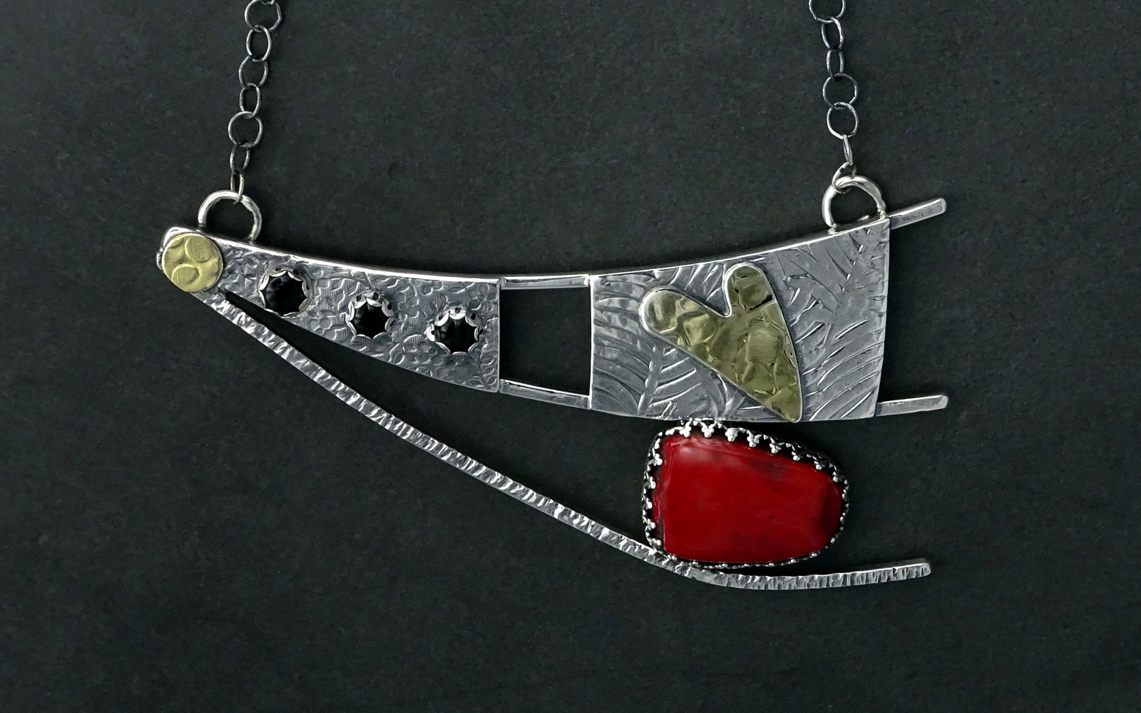 LARGE DANCING SPIRIT NECKLACE WITH RED STONE,  Pendant - 4.25 x 2.25 inches, Chain Length - 21 inches