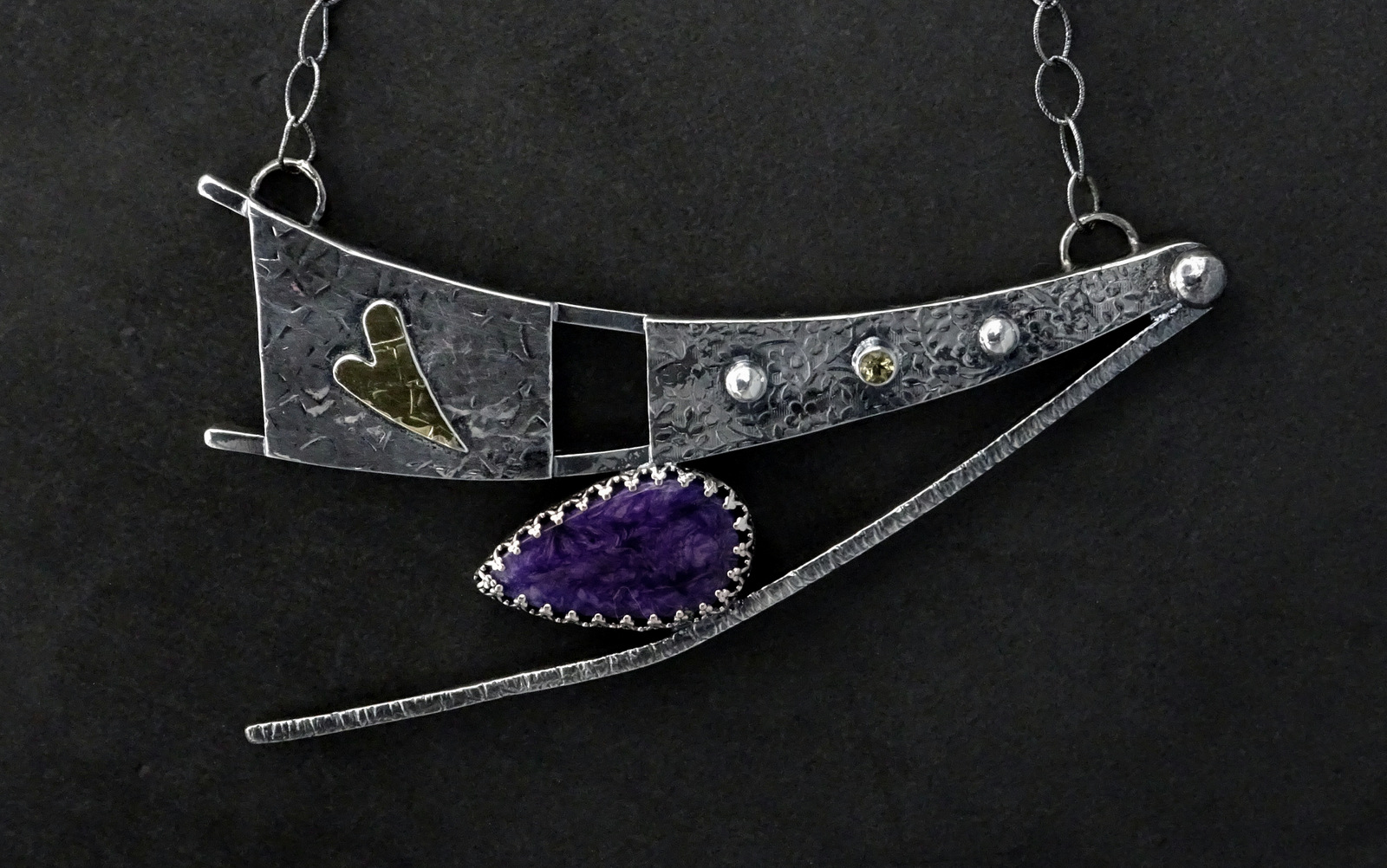 LARGE DANCING SPIRIT NECKLACE WITH PURPLE STONE,  Pendant - 4.5 x 2.75 inches, Chain Length - 23 inches