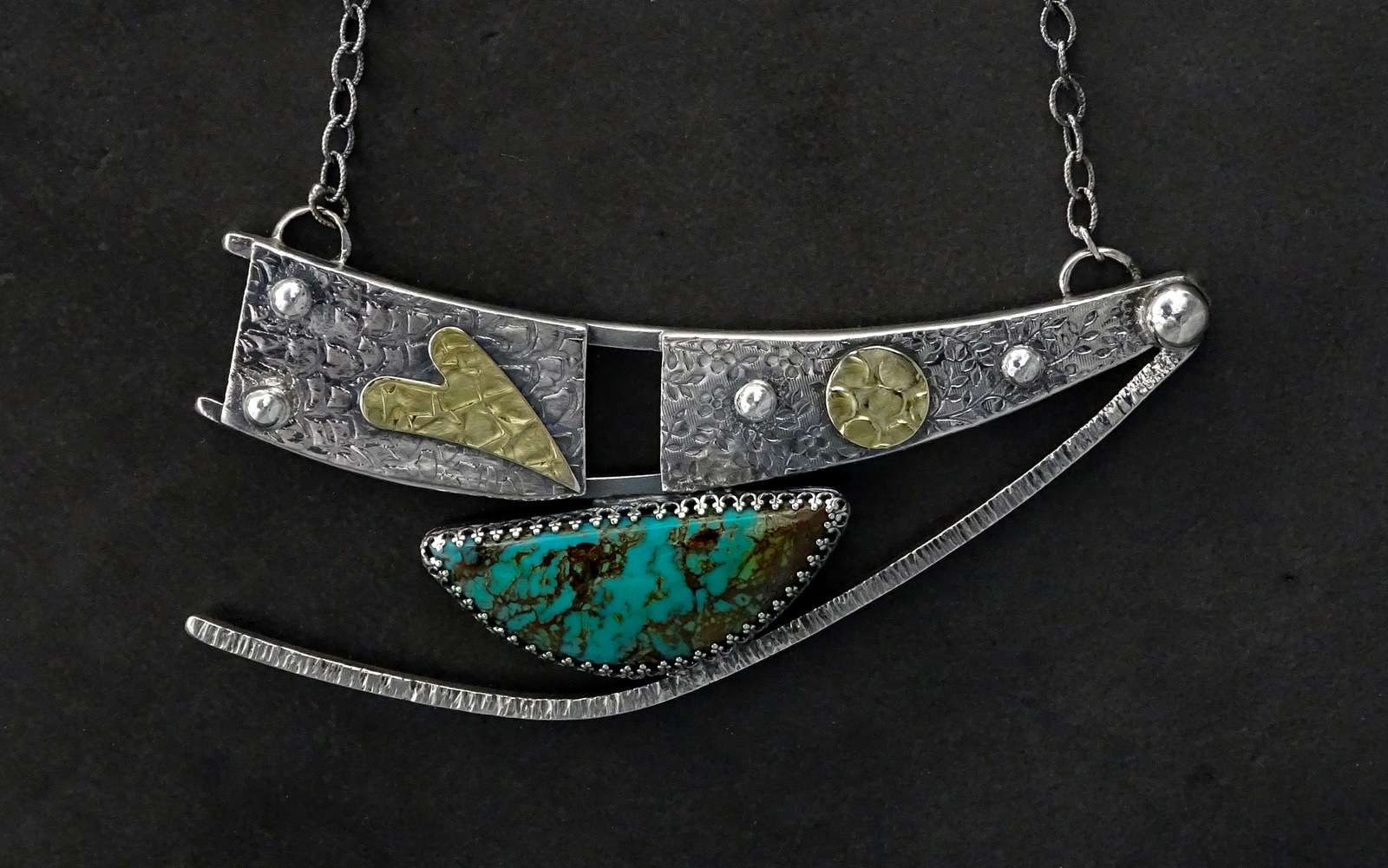 LARGE DANCING SPIRIT NECKLACE WITH TURQUOISE STONE,  Pendant - 4.5 x 2.25 inches, Chain Length - 24 inches