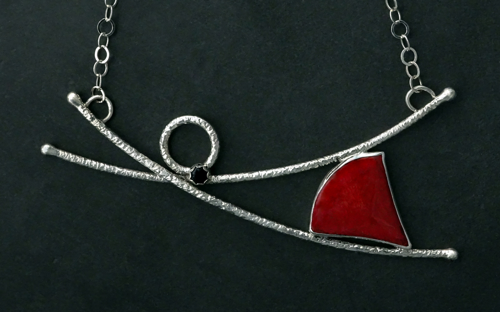 MEDIUM DANCING SPIRIT NECKLACE WITH TRIANGULAR RED STONE,  Pendant - 5 x 2 inches, Chain Length - 22 inches