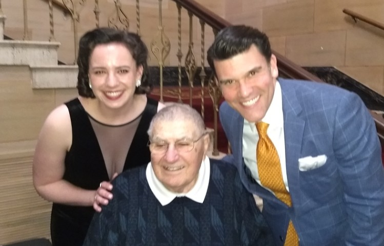 Dad at the Carolina Theater with Glenn Miller Orchestra band director Nick Hilscher and singer Hannah Truckenbrod in January 2019.