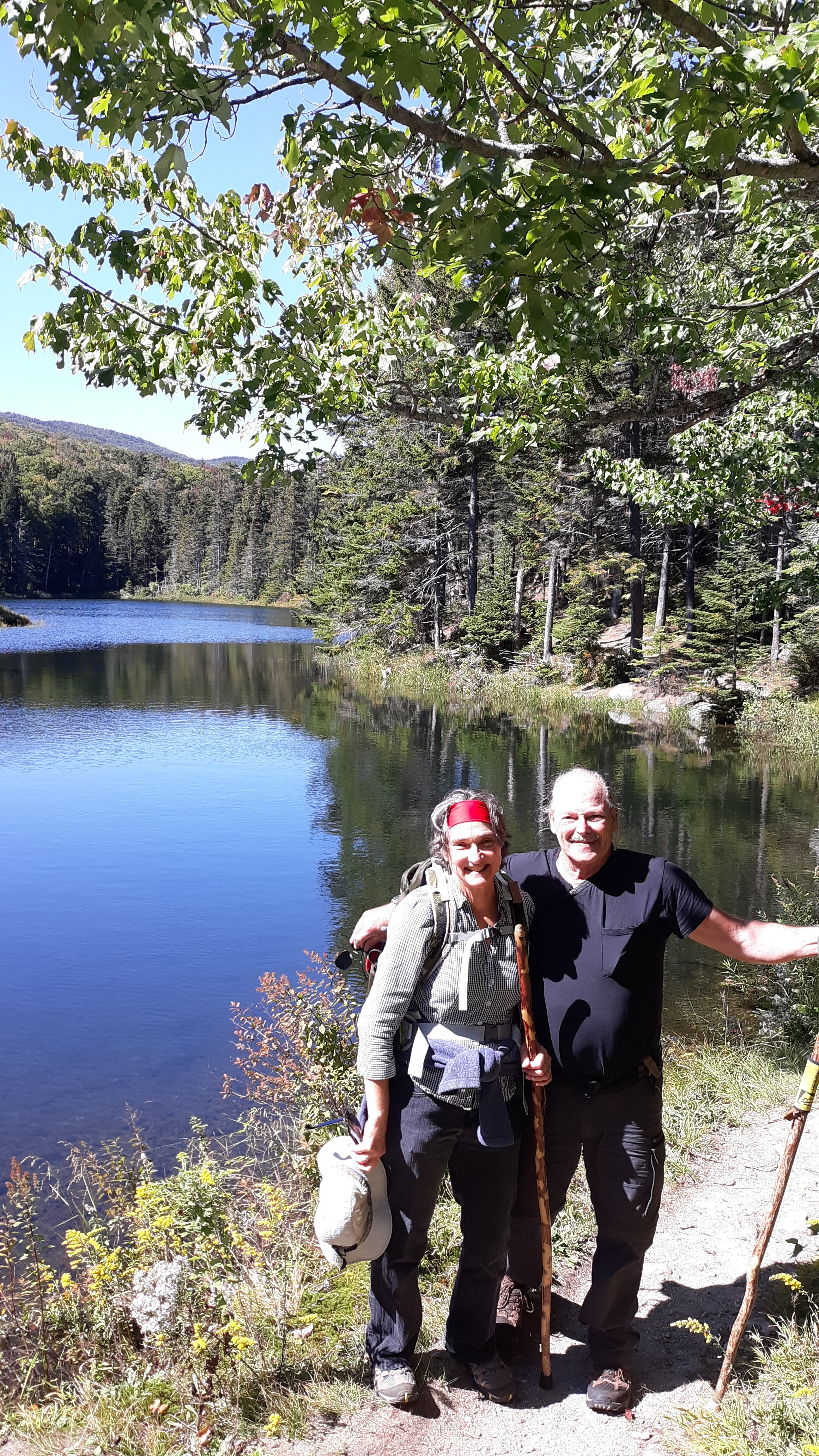 Happy hikers in New Hampshire's White Mountains.