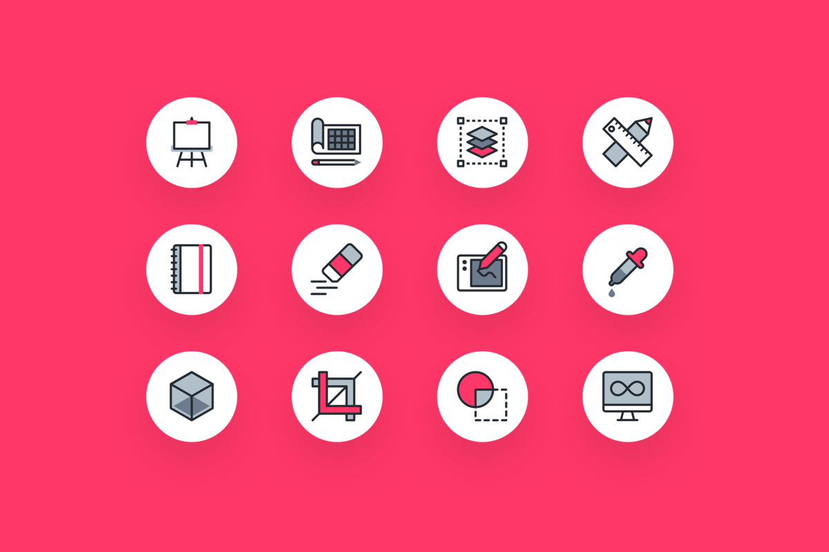 Graphic Design Icon Pack - A really nicely designed icon set from the folk at Vecteezy & InVision. Available for free in all the file formats you need.