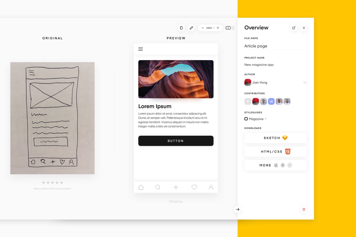 UIzard - Transform your hand-drawn wireframes into digital design files and front-end code – automatically!