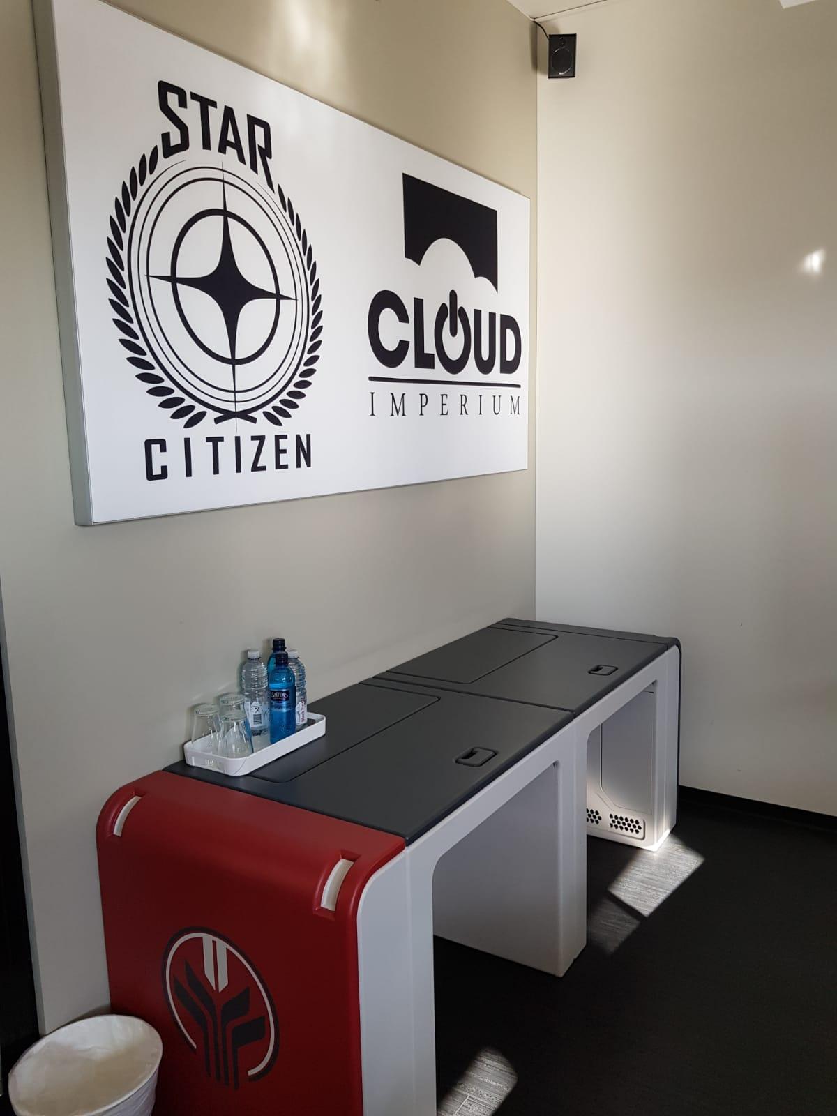The outpost desks from GamesCom desk