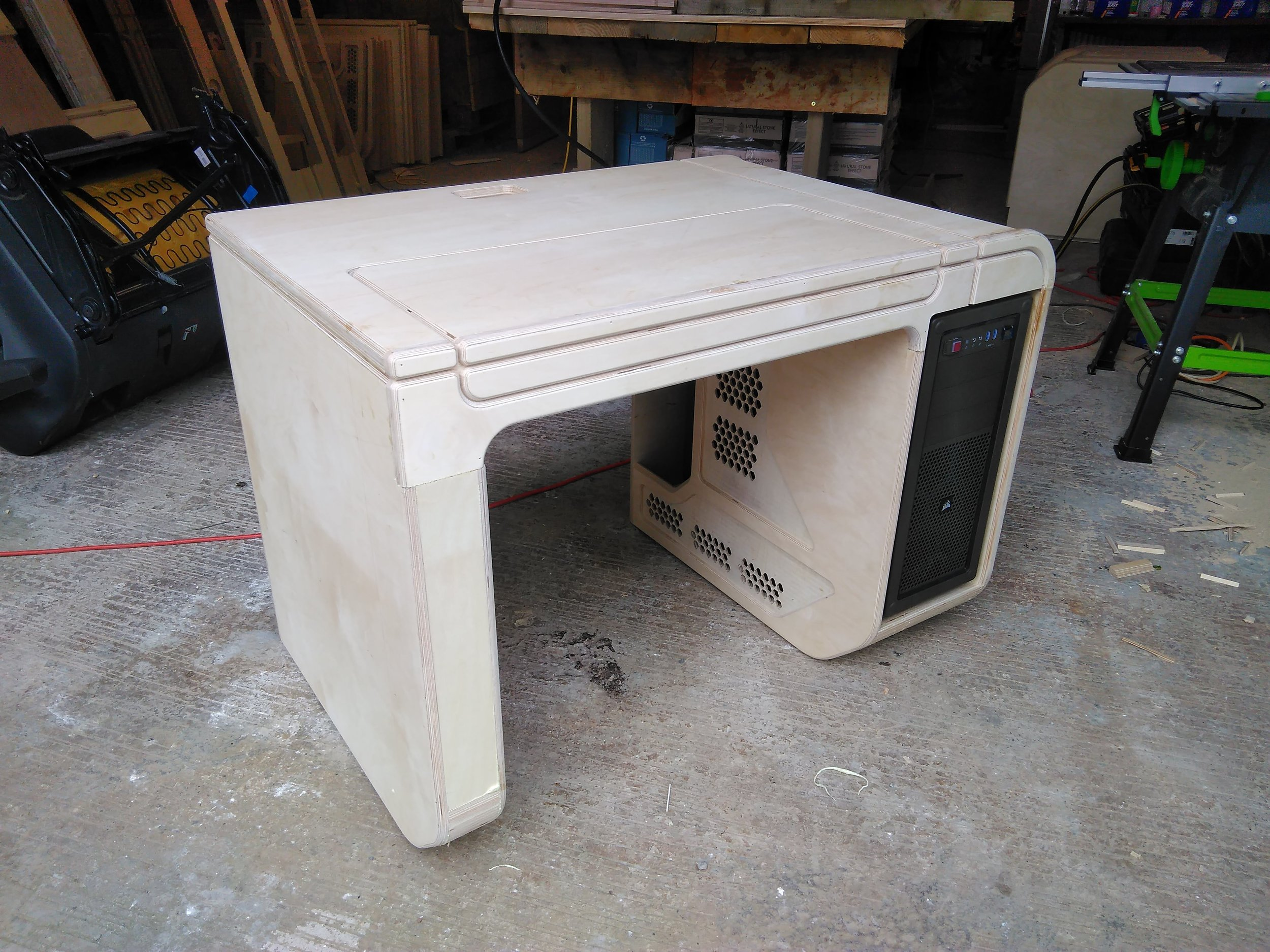 A complete unpainted desk