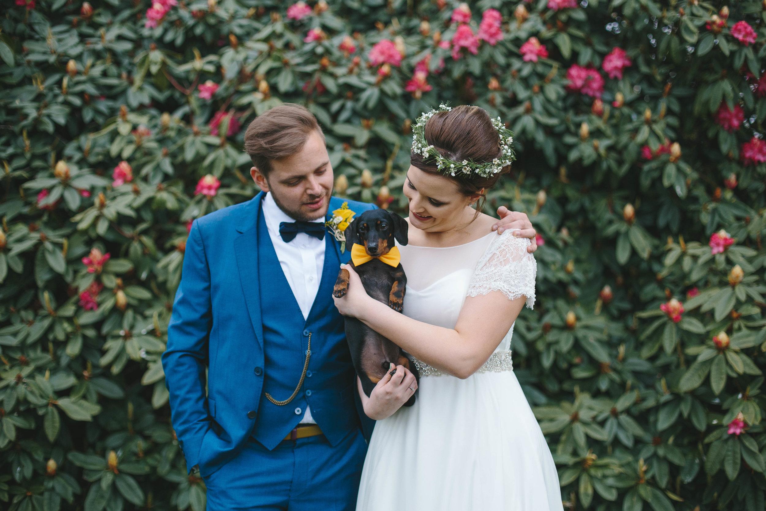 Sheffield Wedding Photographer Yeldersley Hall with Sausage Dog
