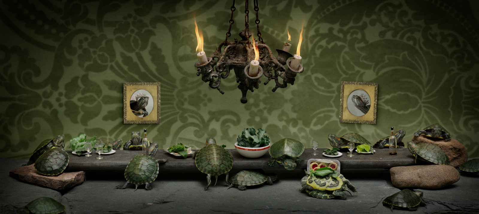 """The Red Eared Slider Turtle Feast  United States, 2013  10""""x22.5"""" 