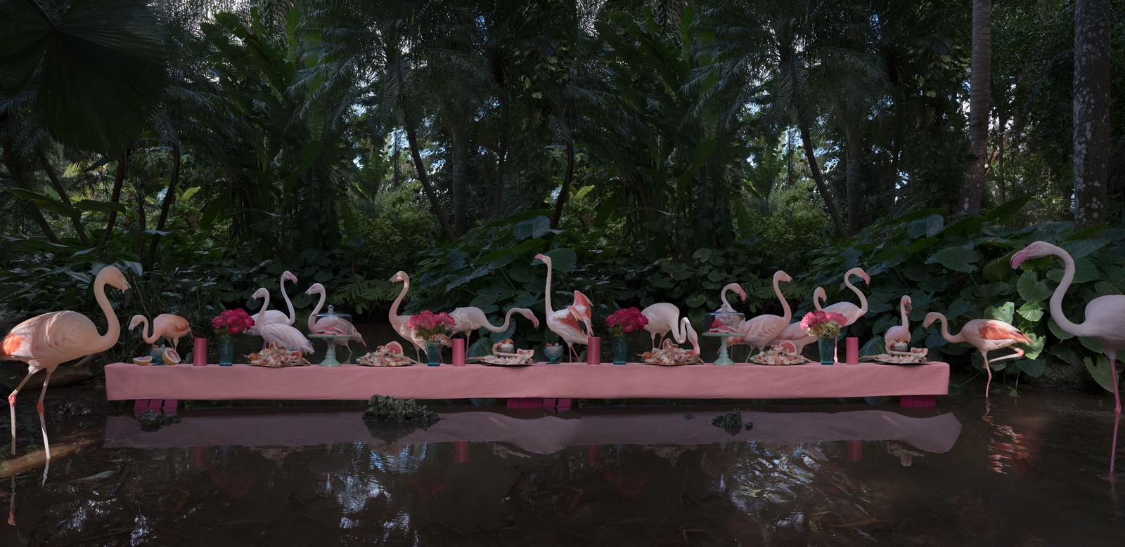 "The Flamingo Feast  United States, 2017  10""x20.5"" | 20""x41"" | 40""x82"""