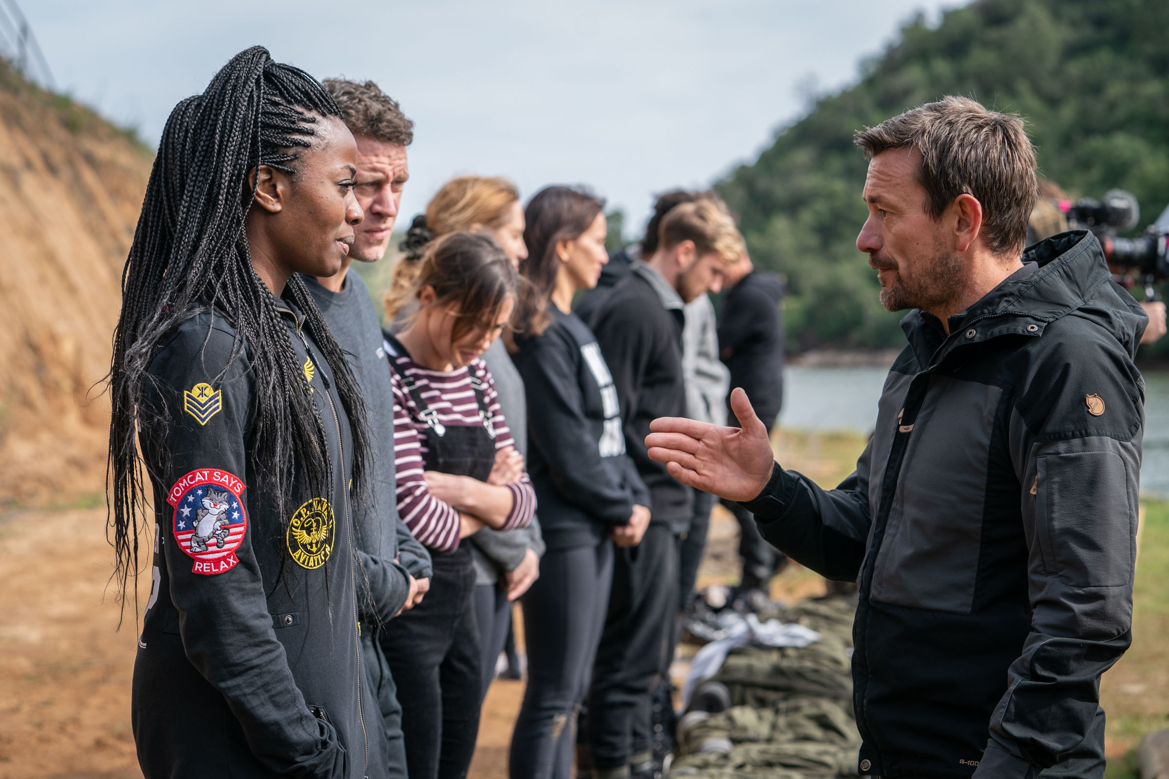 DS Ollie Ollerton instructs the recruits before the backwards dive  Episode 1 - Courage  Minnow Films / Channel 4