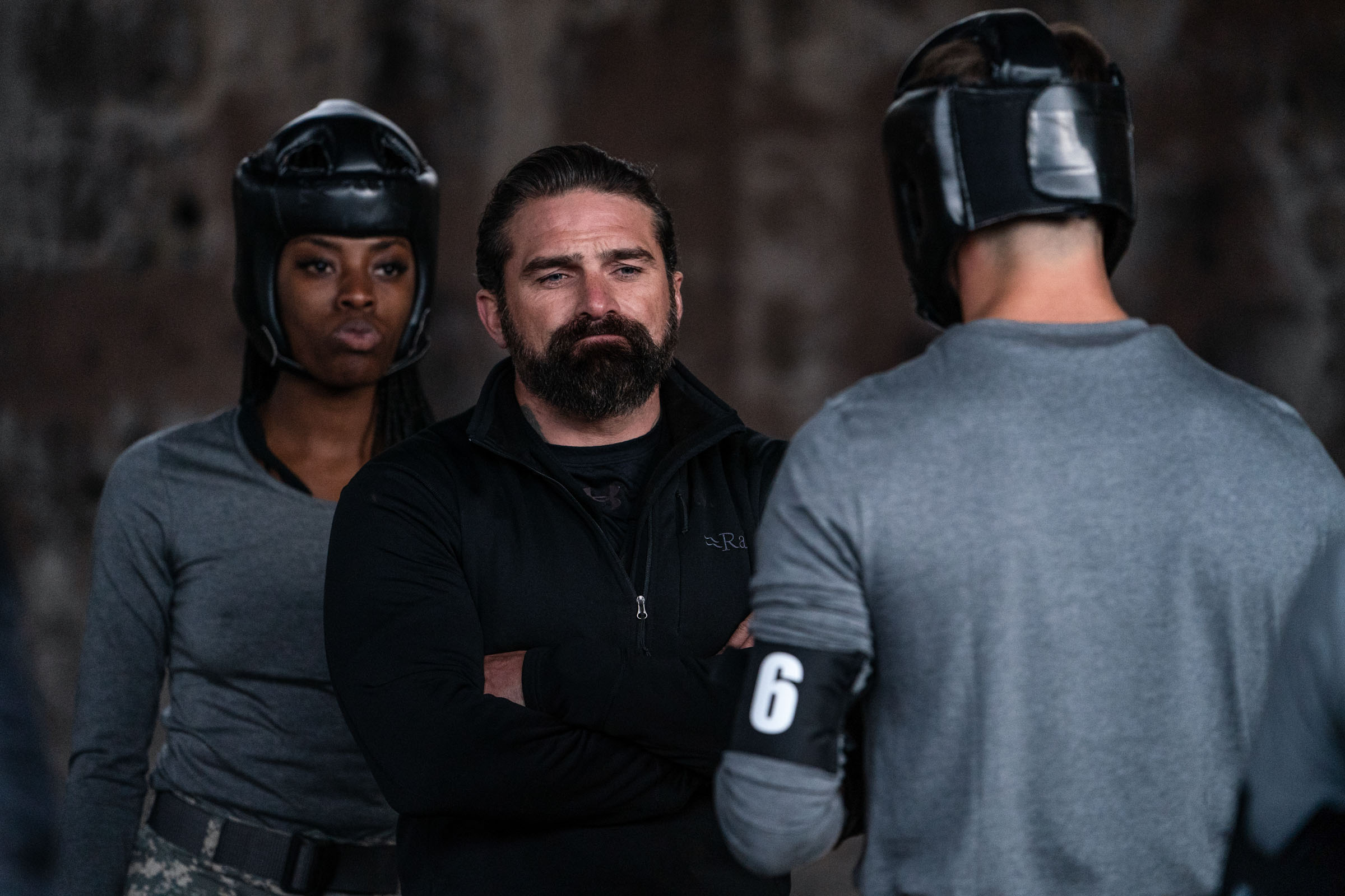 Chief Instructor Ant Middleton AjJ Odudu and Jeremy Irvine during the 2 vs 1 boxing  Episode 1 - Courage  Minnow Films / Channel 4