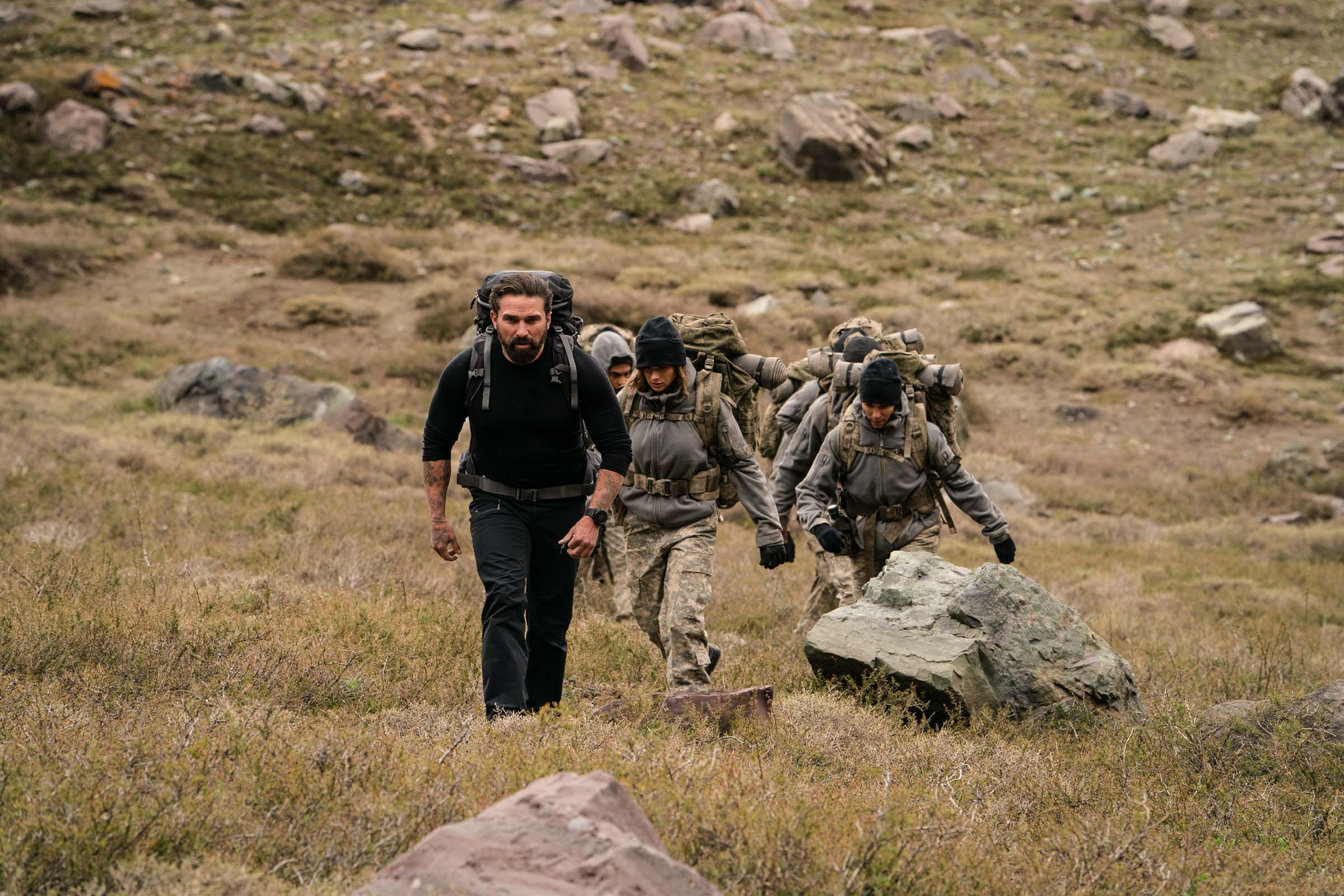 Chief Instructor Ant Middleton leads the recruits to the Jabba Wall  Episode 2  Minnow Films / Channel 4