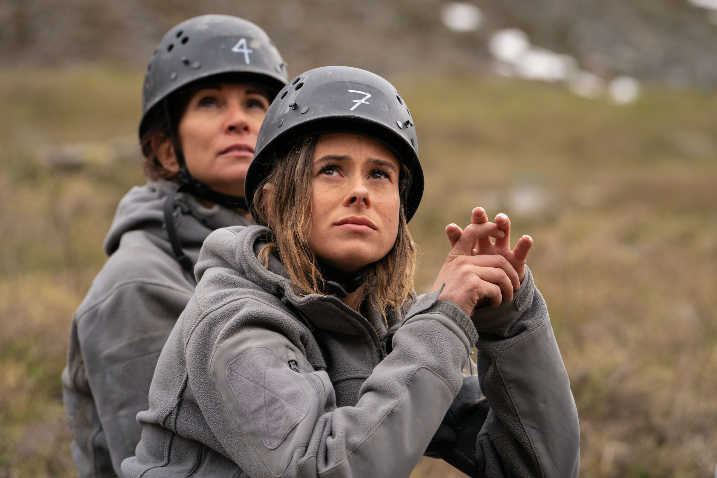 Recruits Camilla Thurlow and Andrea McLean looking up at the Jabba Wall before the climb  Episode 2  Minnow Films / Channel 4