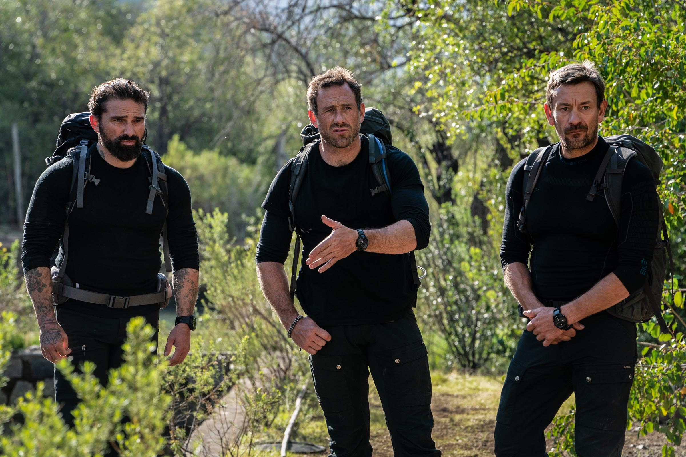 Chief Instructor Ant Middleton and DS Jason Fox & Ollie Ollerton at the Animas Hills Log Pools after the uphill race  Episode 2  Minnow Films / Channel 4