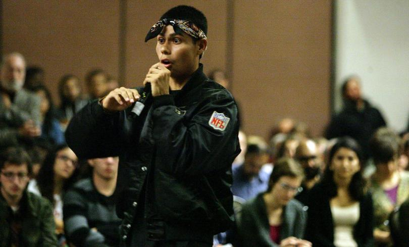 """""""University of Redlands junior Marcus Garcia speaks to the more than 500 students and faculty members Wednesday, Nov. 18, during a forum on racial issues on campus."""" - By   DAVID DOWNEY   
