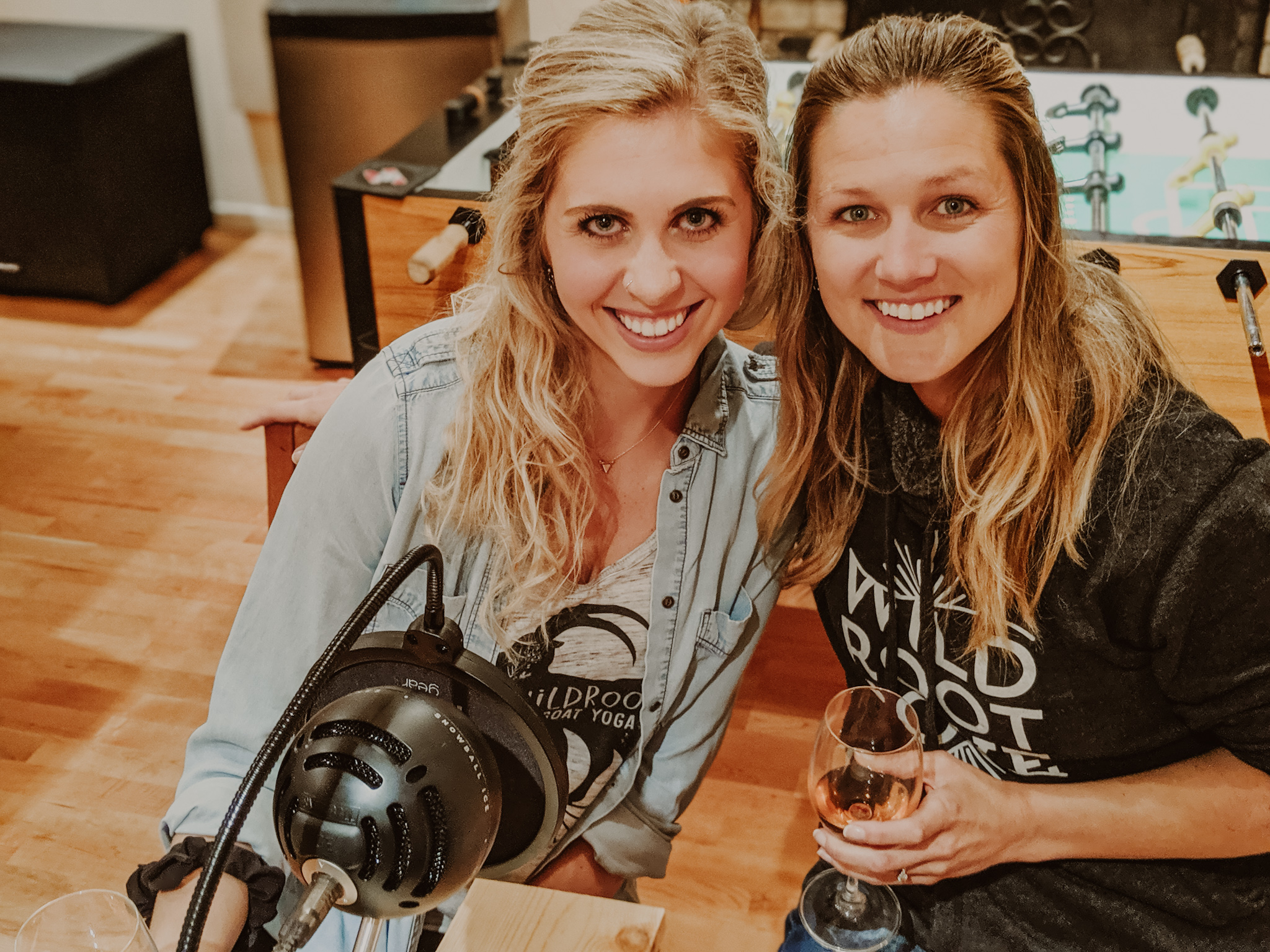 Mazie and Tara recording the Learn Laugh Leap podcast